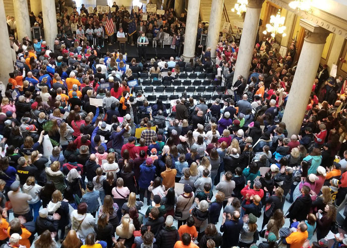 Indiana Population at Statehouse gathering